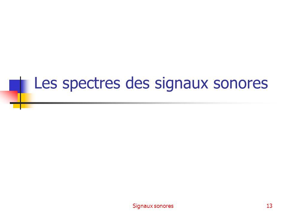 Les spectres des signaux sonores