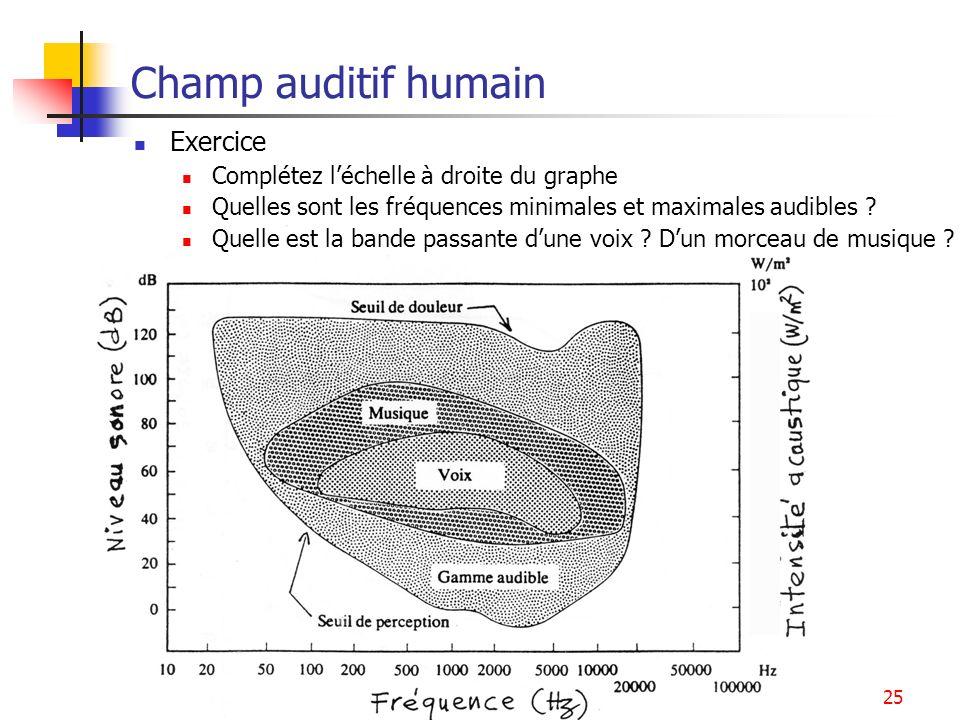 Champ auditif humain Exercice Complétez l'échelle à droite du graphe