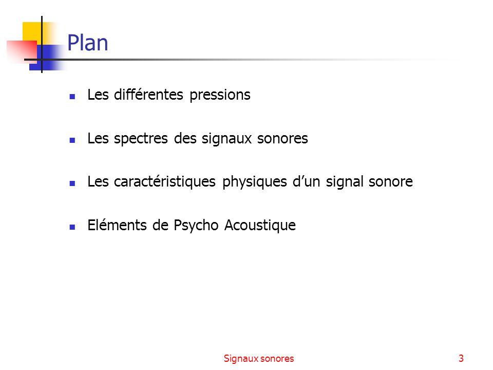 Plan Les différentes pressions Les spectres des signaux sonores
