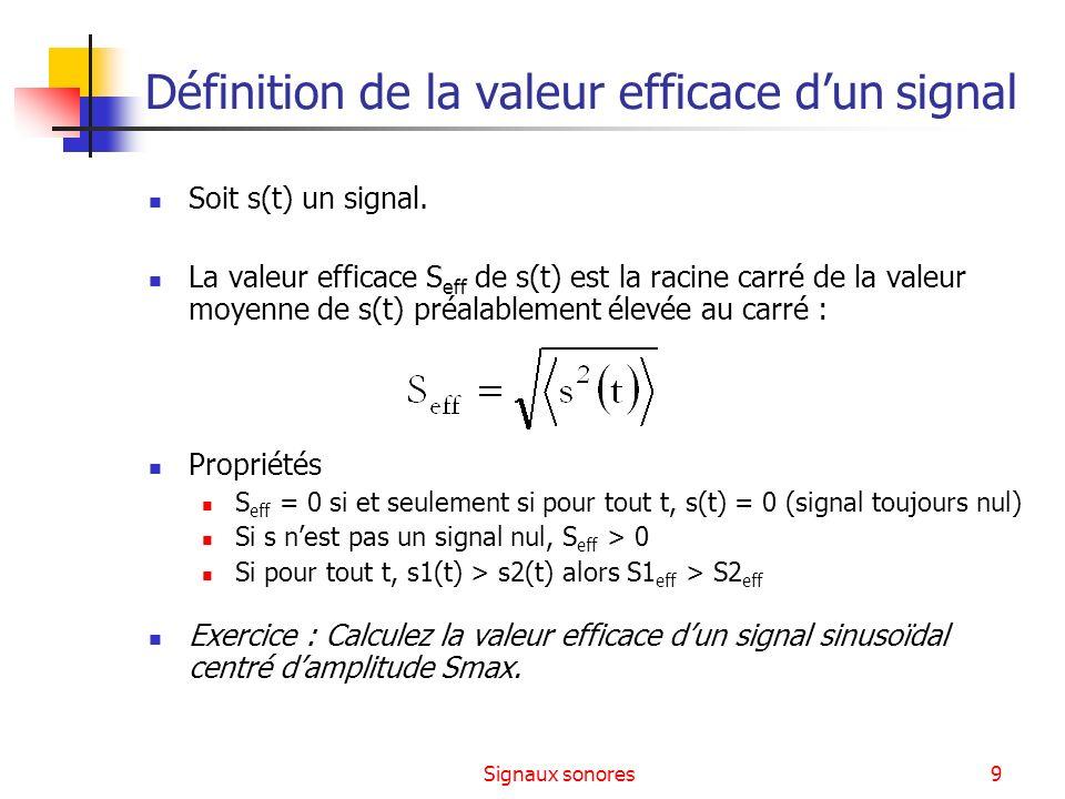 Définition de la valeur efficace d'un signal