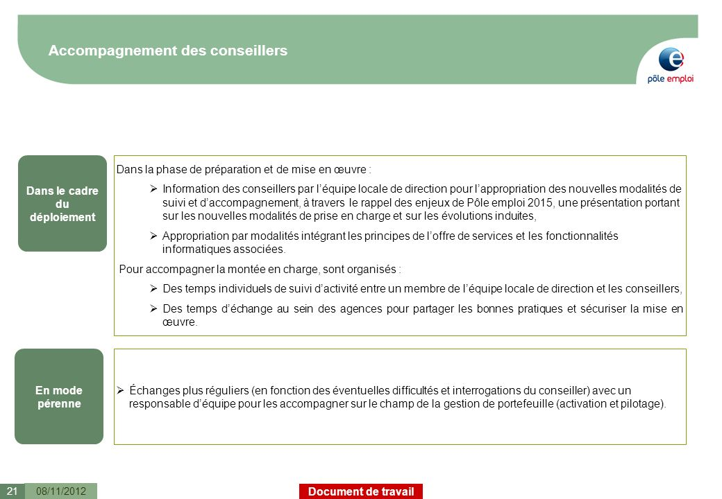 Accompagnement des conseillers