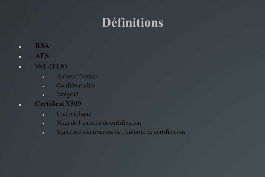 Définitions RSA AES SSL (TLS) Certificat X509 Authentification