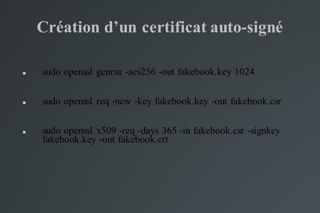 Création d'un certificat auto-signé