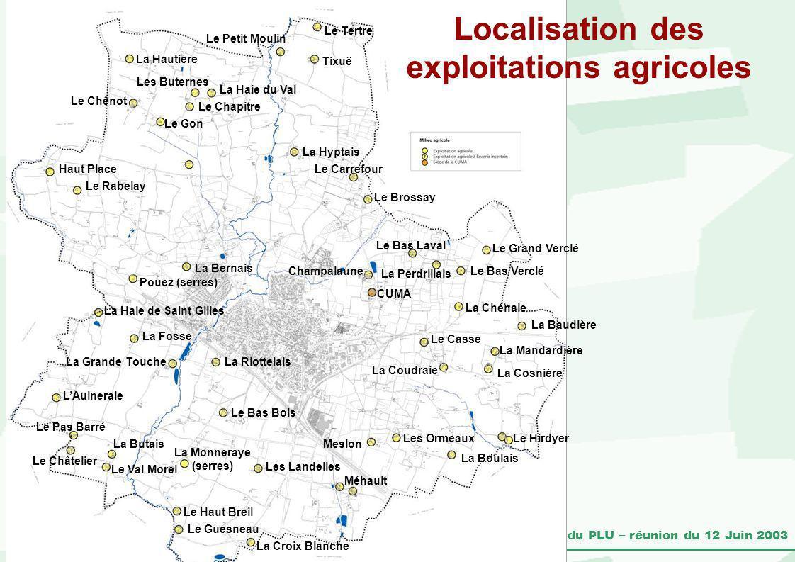 Localisation des exploitations agricoles
