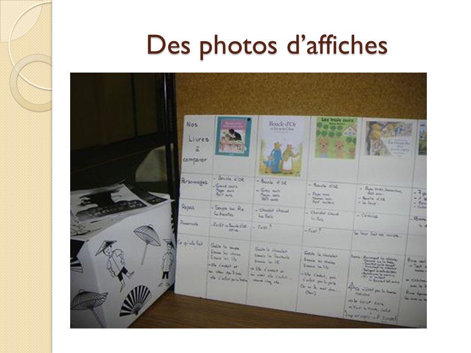 Des photos d'affiches Des photos: des élèves, d'affiches, de marottes, de couvertures d'albums, de tapis, de décors…