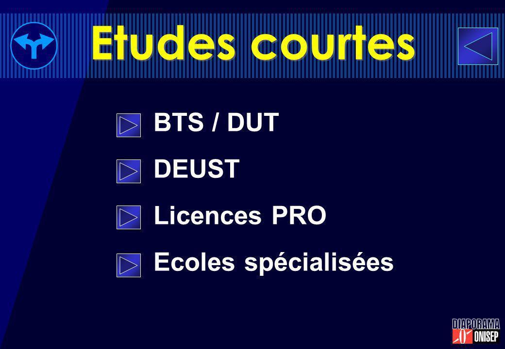 Etudes courtes BTS / DUT DEUST Licences PRO Ecoles spécialisées