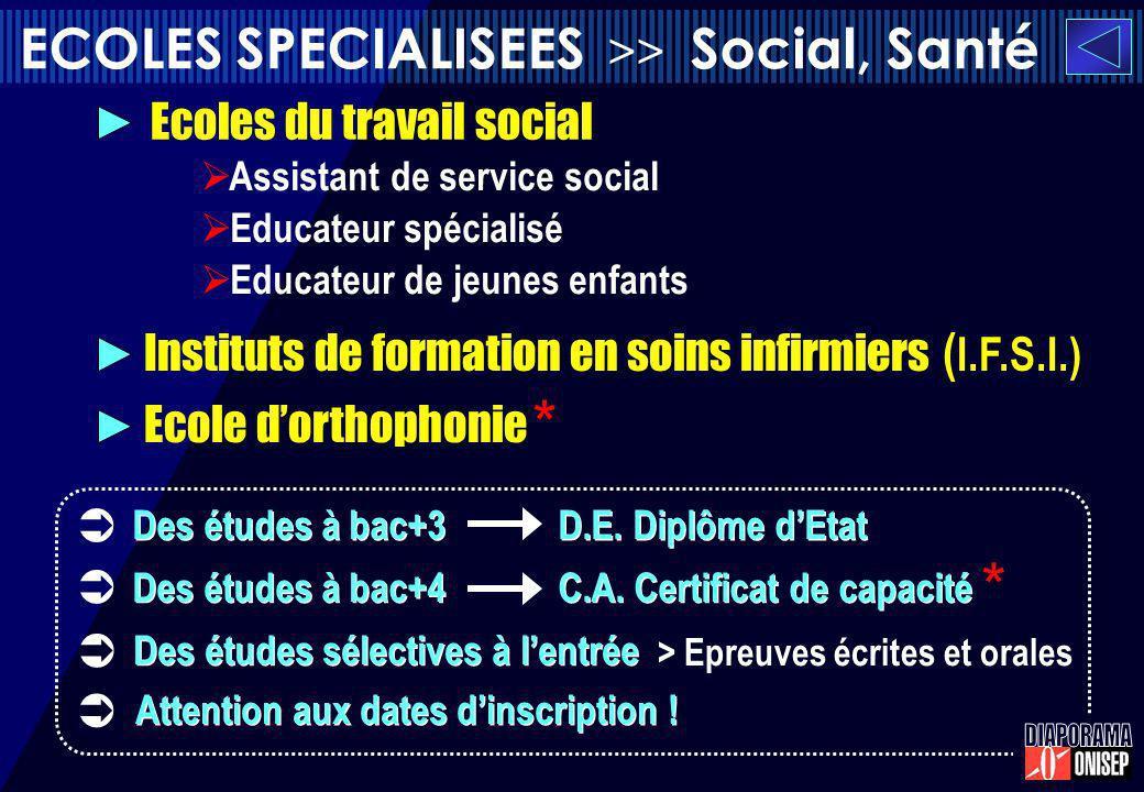 ECOLES SPECIALISEES >> Social, Santé