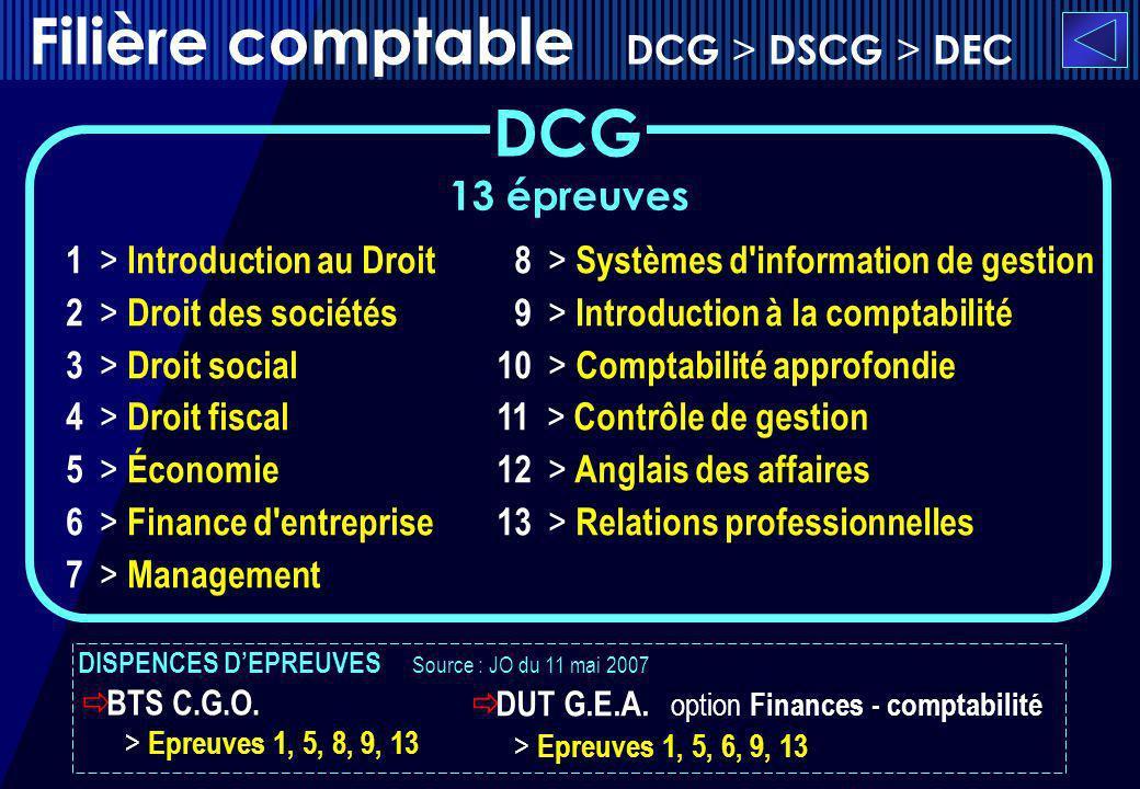 Filière comptable DCG > DSCG > DEC DCG