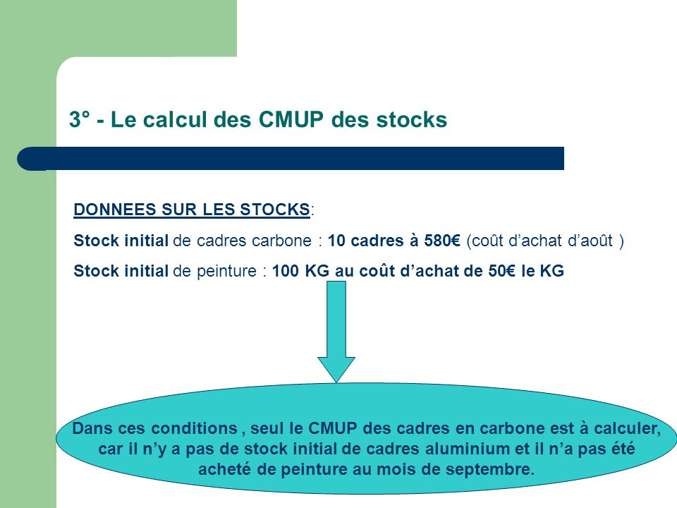 3° - Le calcul des CMUP des stocks