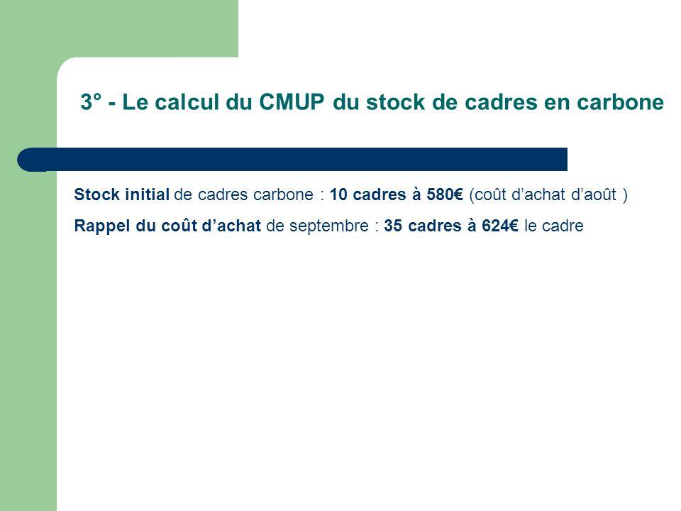 3° - Le calcul du CMUP du stock de cadres en carbone