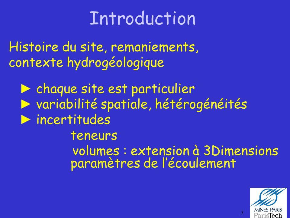 Introduction Histoire du site, remaniements, contexte hydrogéologique