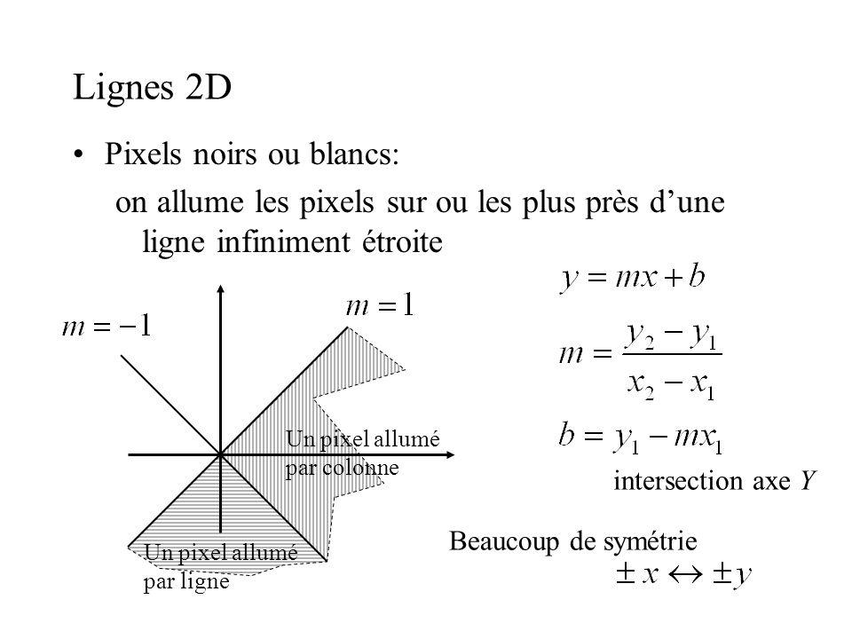 Lignes 2D Pixels noirs ou blancs: