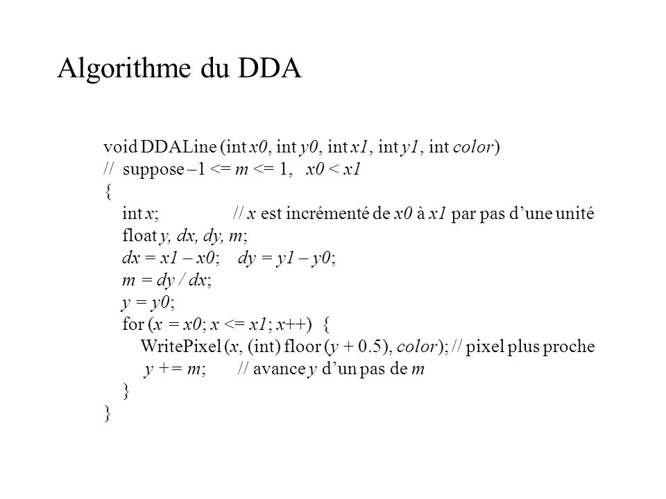 Algorithme du DDA void DDALine (int x0, int y0, int x1, int y1, int color) // suppose –1 <= m <= 1, x0 < x1.