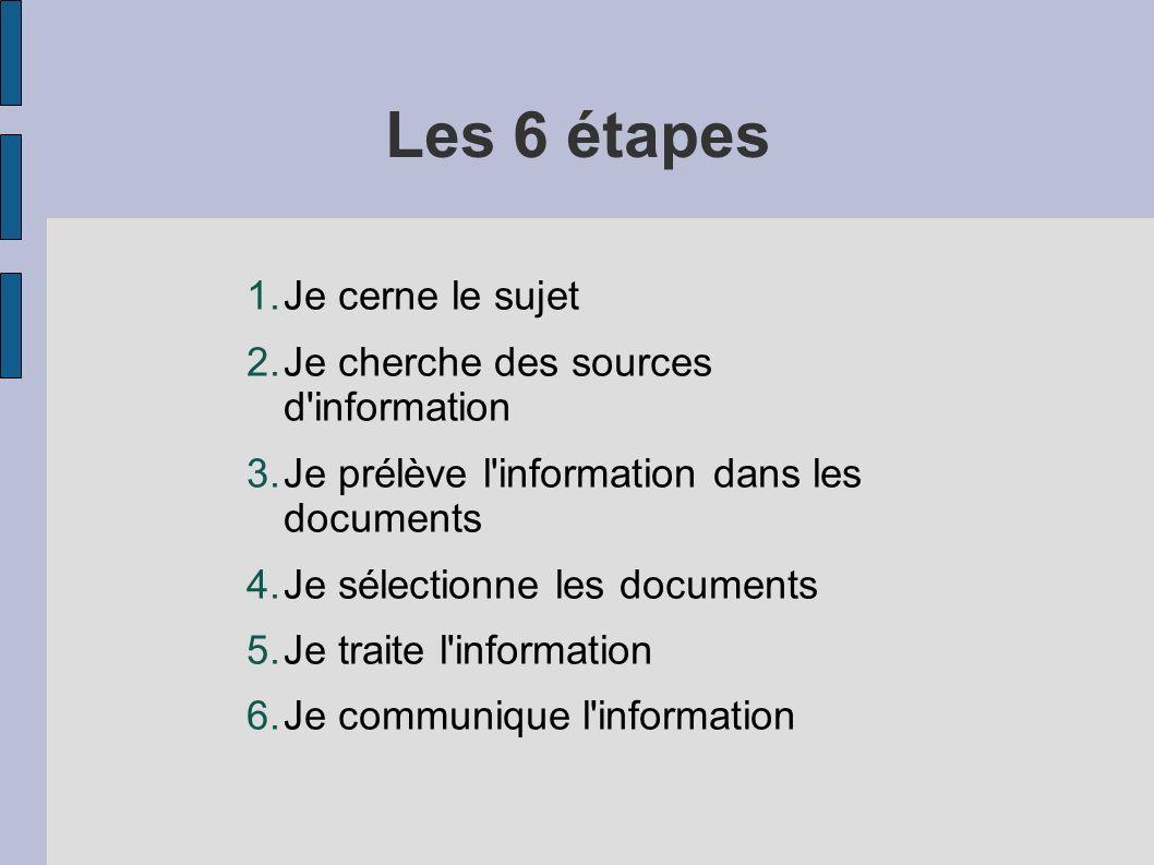 Les 6 étapes Je cerne le sujet Je cherche des sources d information