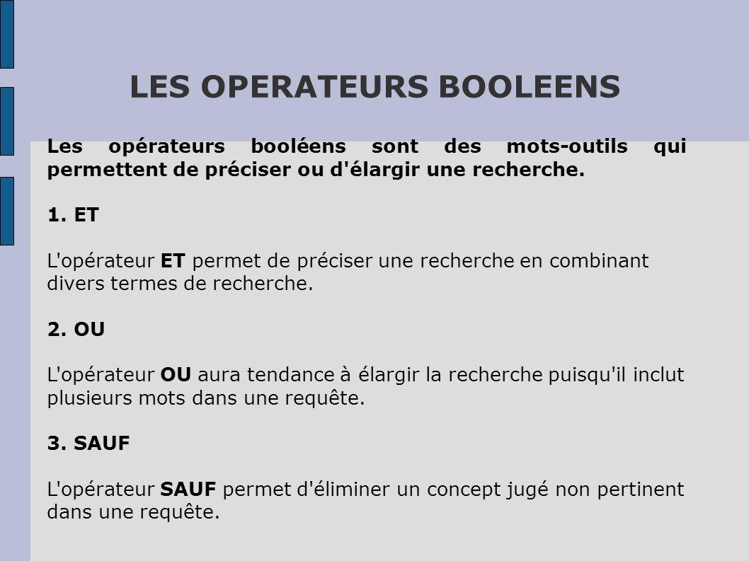 LES OPERATEURS BOOLEENS