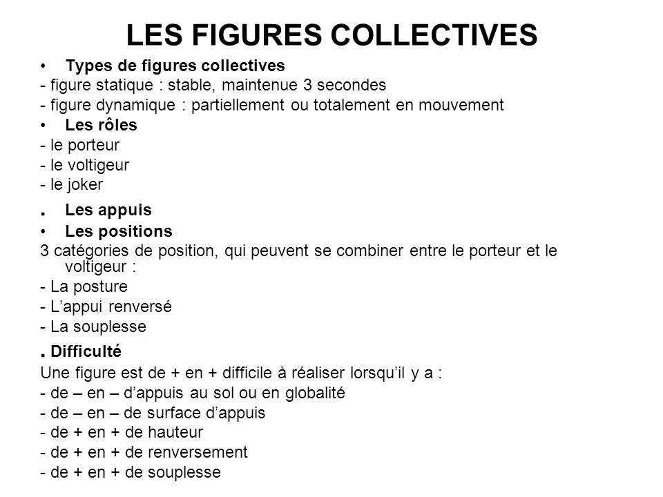 LES FIGURES COLLECTIVES