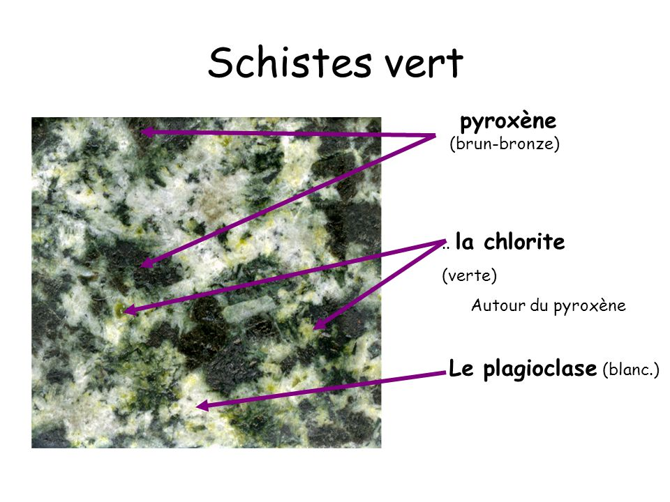 Schistes vert Le plagioclase (blanc.) pyroxène (brun-bronze)