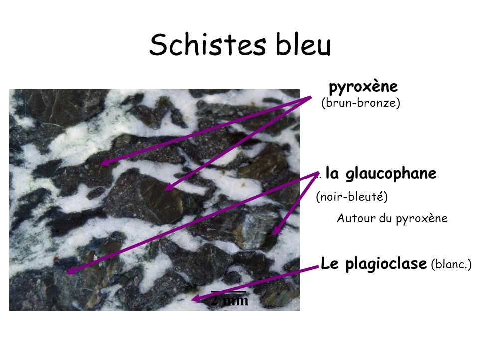 Schistes bleu Le plagioclase (blanc.) pyroxène (brun-bronze)