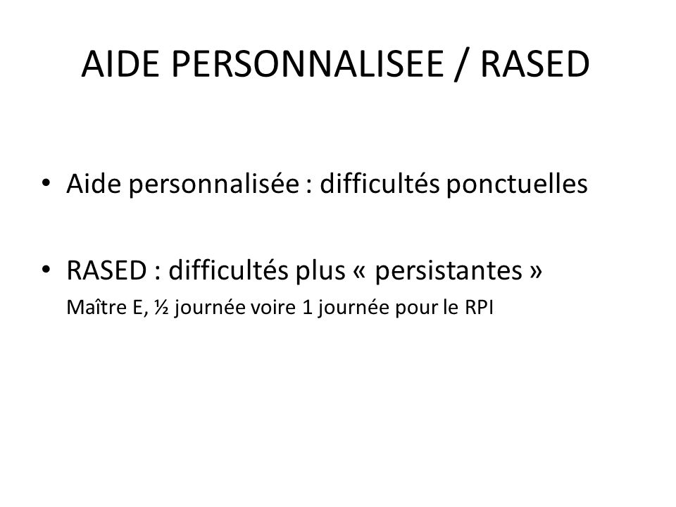 AIDE PERSONNALISEE / RASED