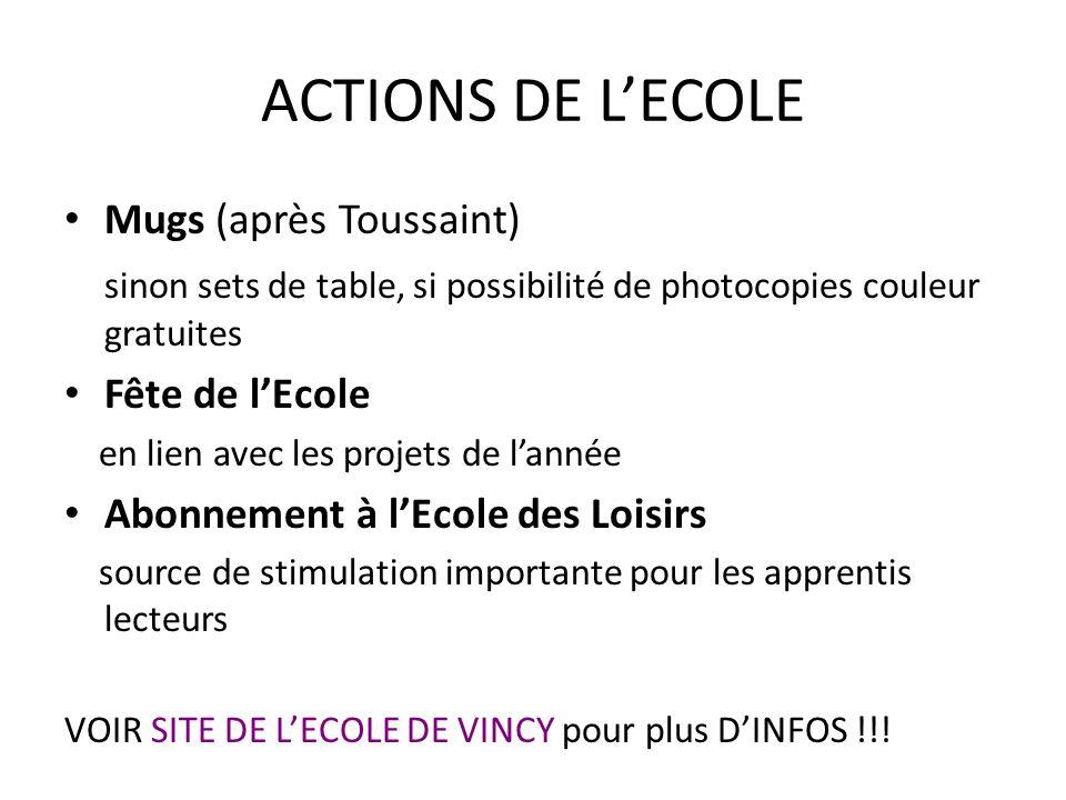 ACTIONS DE L'ECOLE Mugs (après Toussaint)