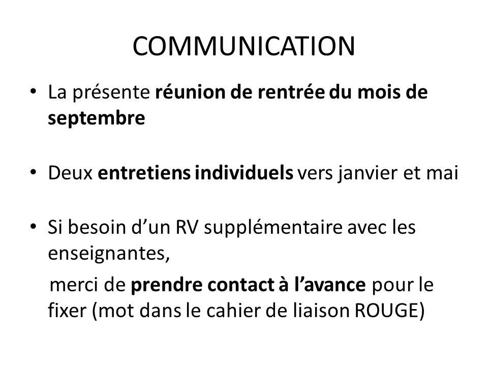 COMMUNICATION La présente réunion de rentrée du mois de septembre