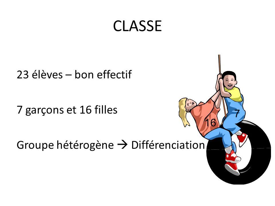 CLASSE 23 élèves – bon effectif 7 garçons et 16 filles Groupe hétérogène  Différenciation 7 16