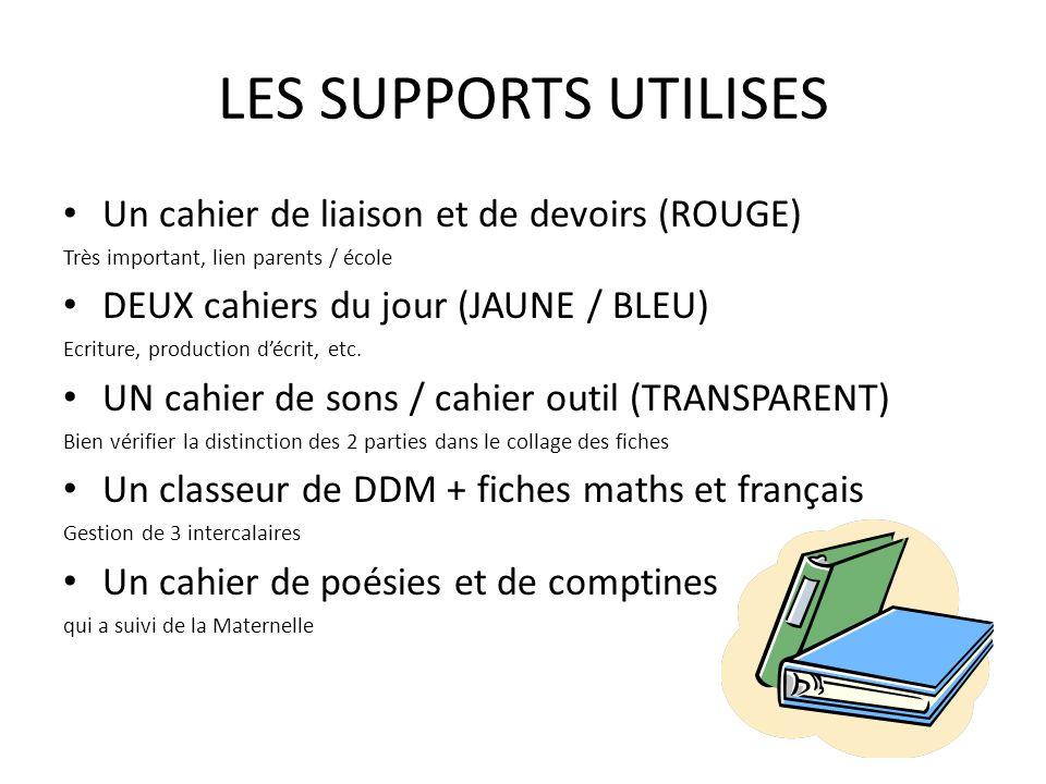 LES SUPPORTS UTILISES Un cahier de liaison et de devoirs (ROUGE)