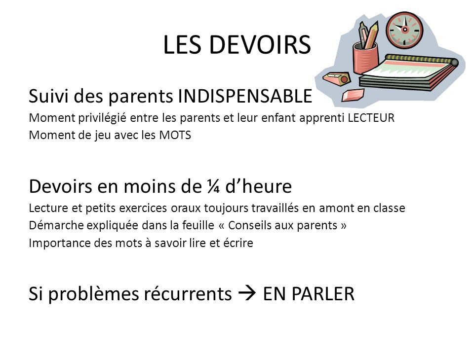 LES DEVOIRS Suivi des parents INDISPENSABLE