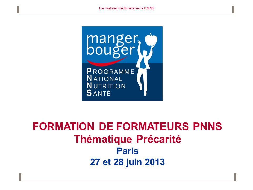 Formation de formateurs PNNS FORMATION DE FORMATEURS PNNS