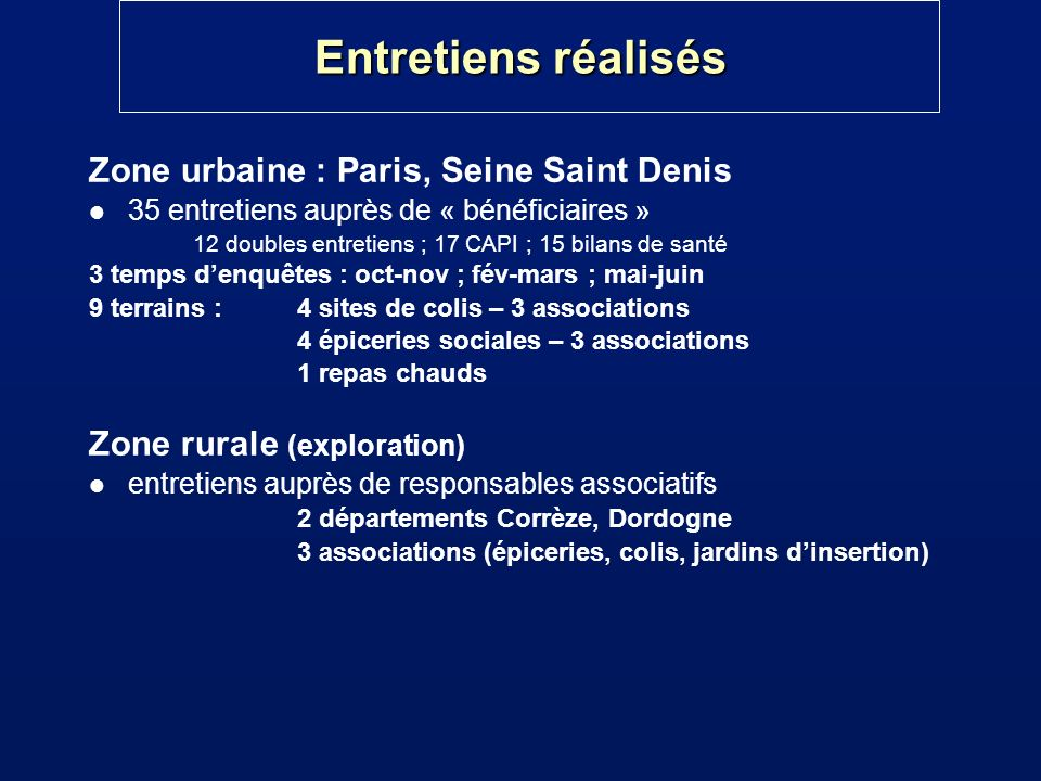 Entretiens réalisés Zone urbaine : Paris, Seine Saint Denis
