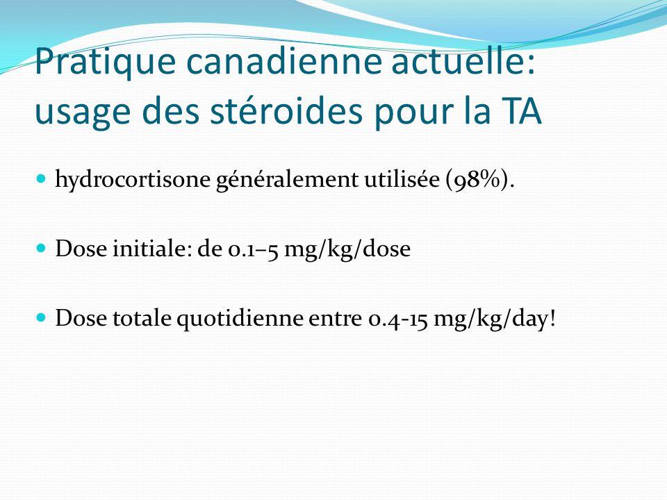 Pratique canadienne actuelle: usage des stéroides pour la TA