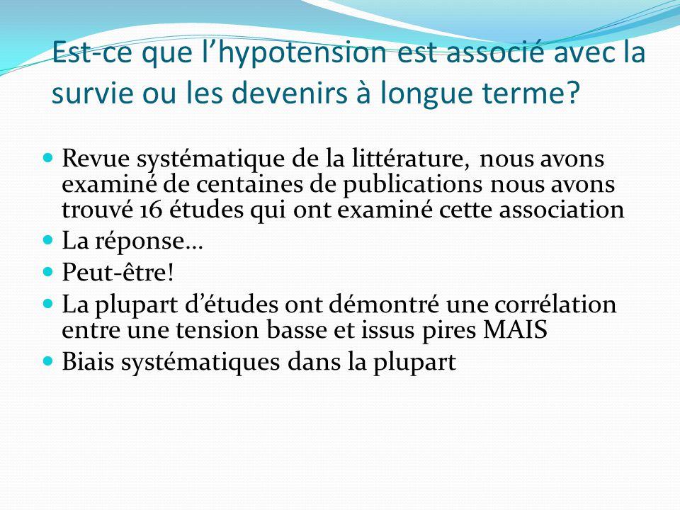 Est-ce que l'hypotension est associé avec la survie ou les devenirs à longue terme