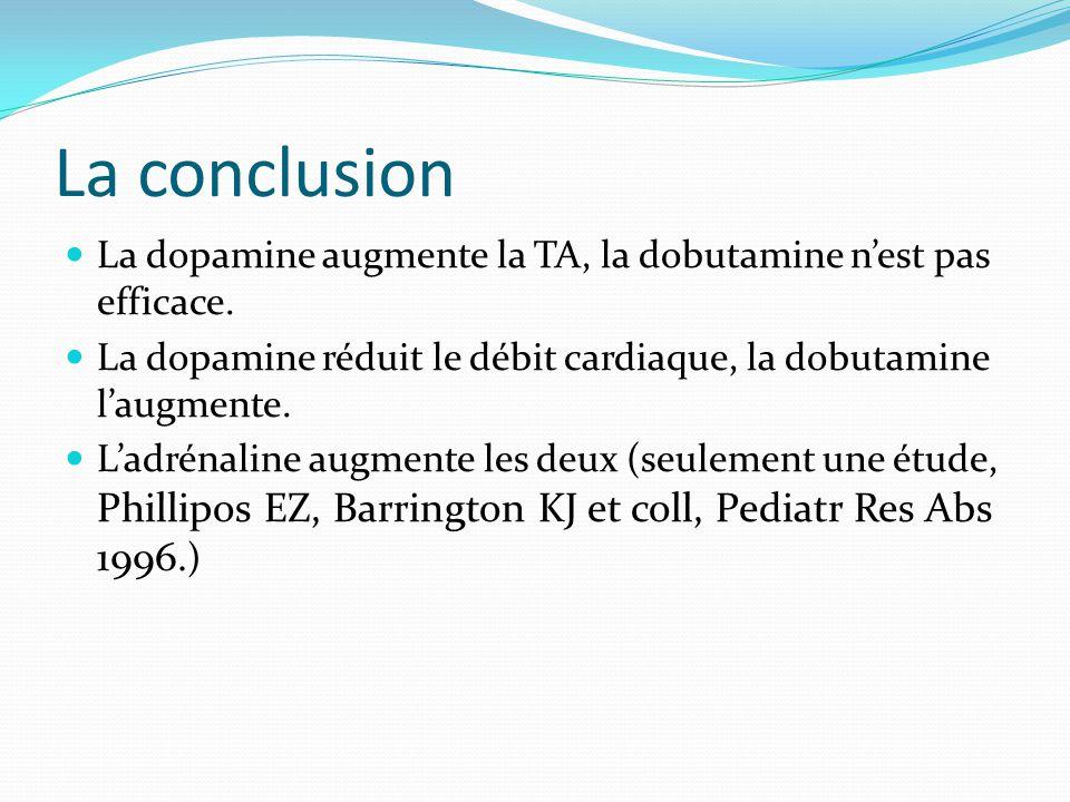 La conclusion La dopamine augmente la TA, la dobutamine n'est pas efficace. La dopamine réduit le débit cardiaque, la dobutamine l'augmente.