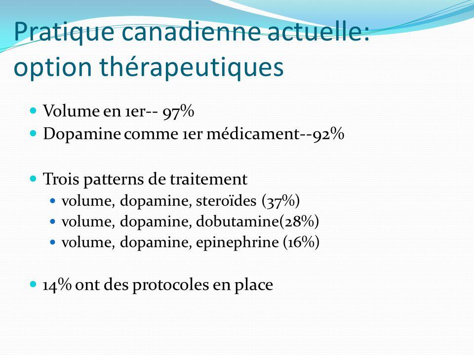Pratique canadienne actuelle: option thérapeutiques