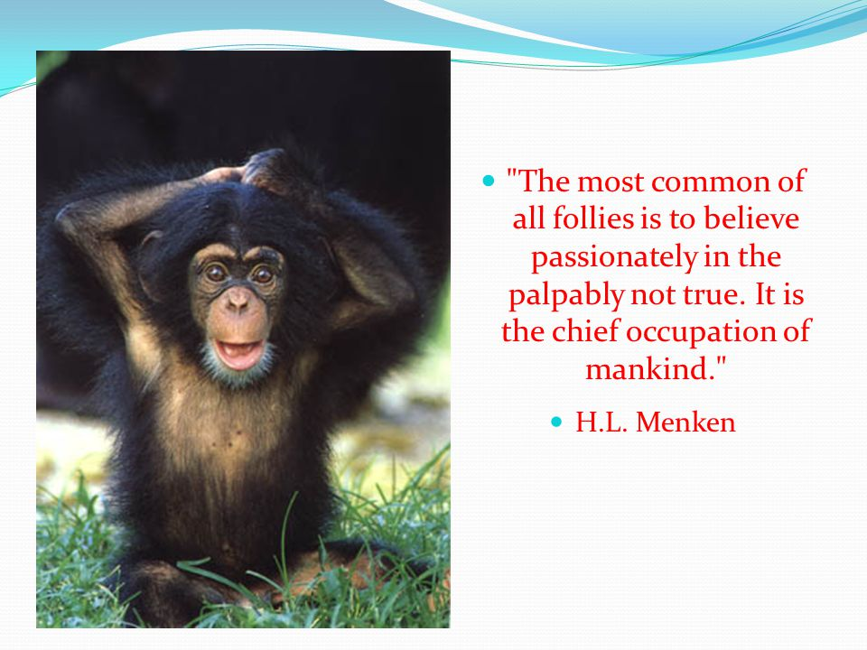 The most common of all follies is to believe passionately in the palpably not true. It is the chief occupation of mankind.