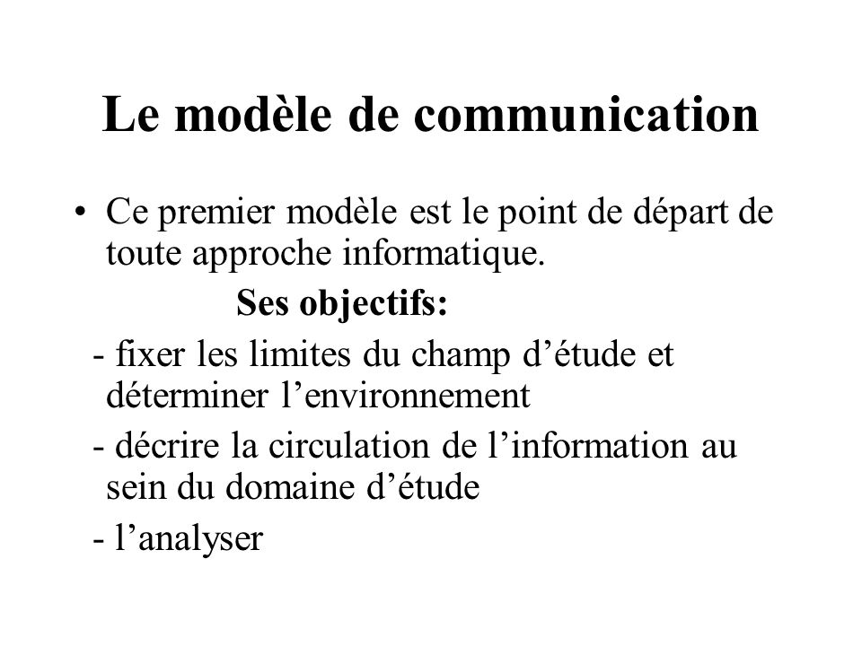 Le modèle de communication