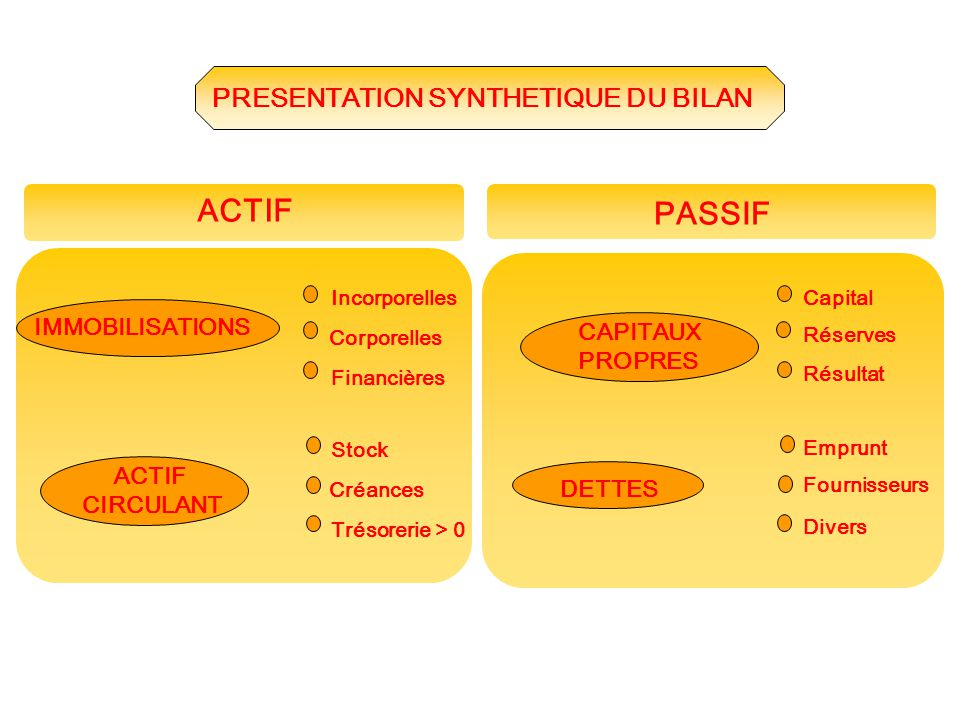 ACTIF PASSIF PRESENTATION SYNTHETIQUE DU BILAN IMMOBILISATIONS