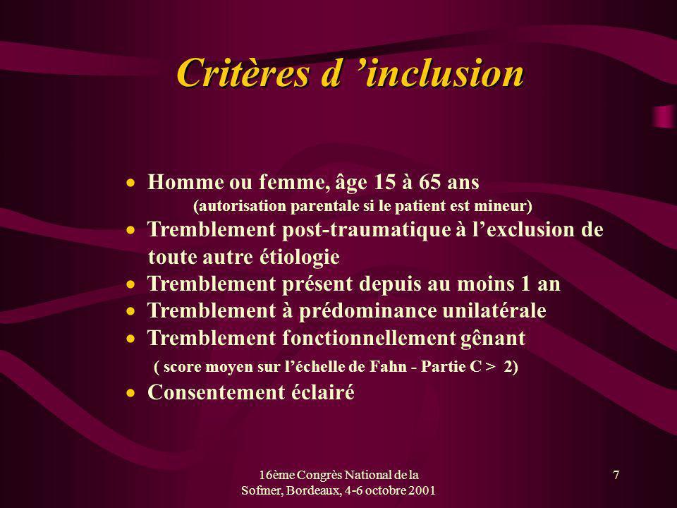 16ème Congrès National de la Sofmer, Bordeaux, 4-6 octobre 2001
