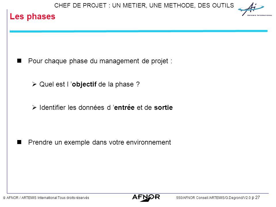 Les phases Pour chaque phase du management de projet :