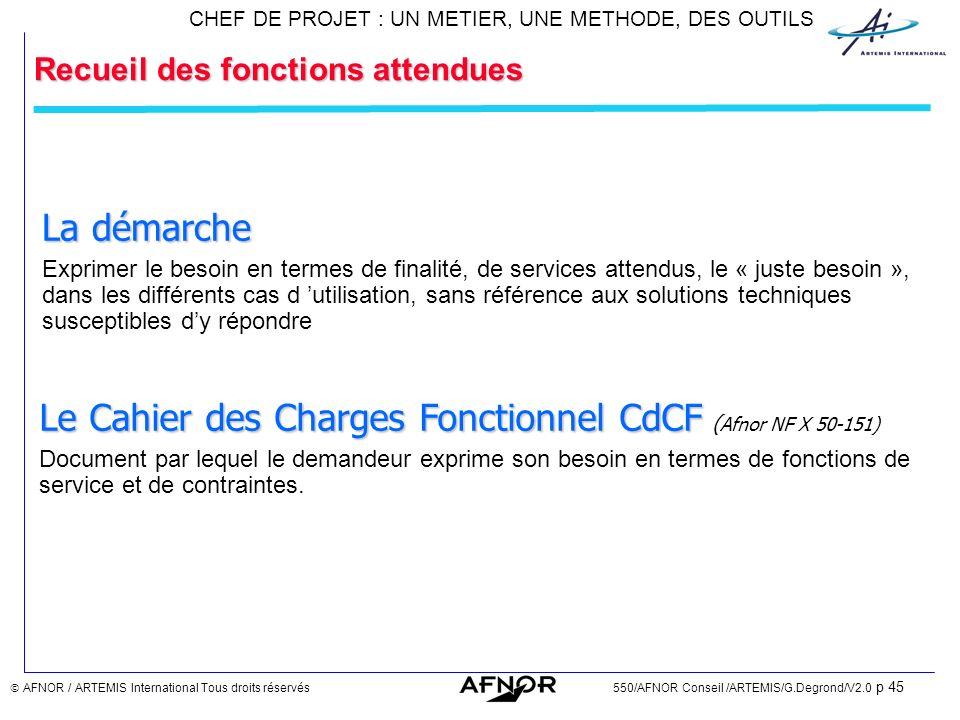Le Cahier des Charges Fonctionnel CdCF (Afnor NF X 50-151)