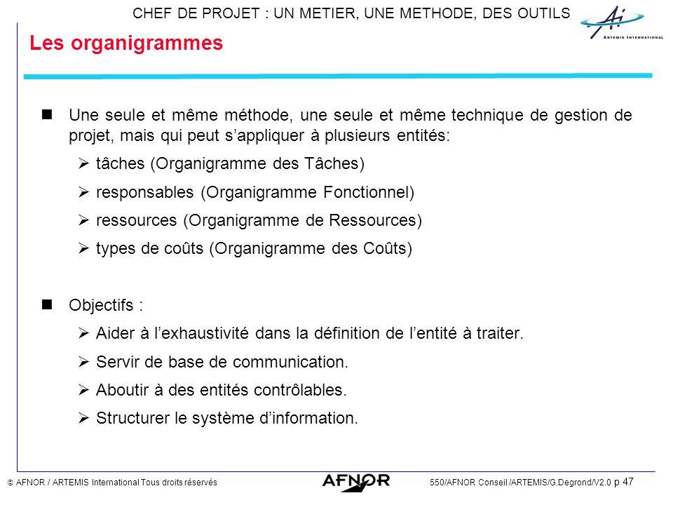 Les organigrammes Une seule et même méthode, une seule et même technique de gestion de projet, mais qui peut s'appliquer à plusieurs entités: