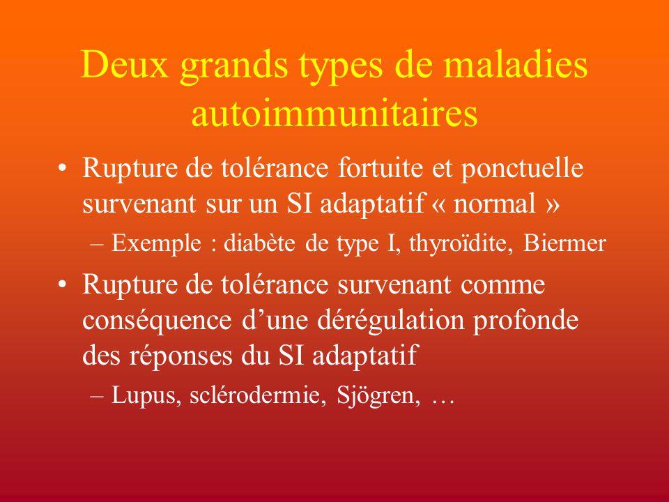 Deux grands types de maladies autoimmunitaires
