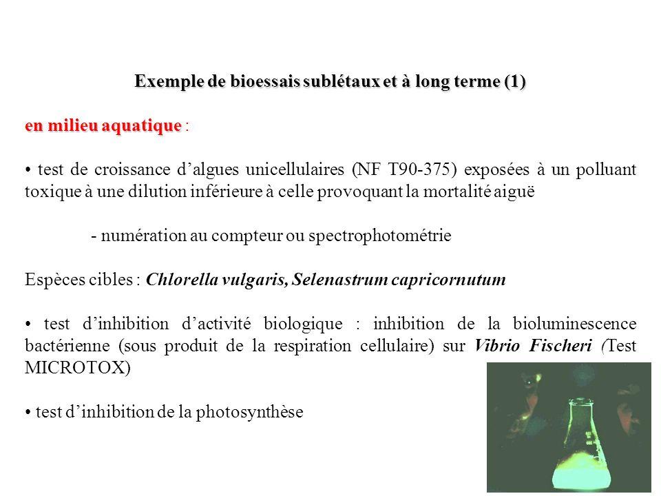Exemple de bioessais sublétaux et à long terme (1)