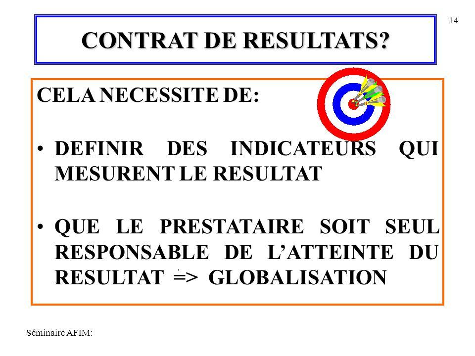 CONTRAT DE RESULTATS CELA NECESSITE DE: