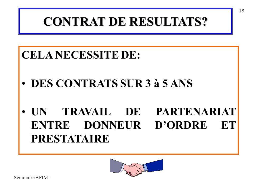CONTRAT DE RESULTATS CELA NECESSITE DE: DES CONTRATS SUR 3 à 5 ANS