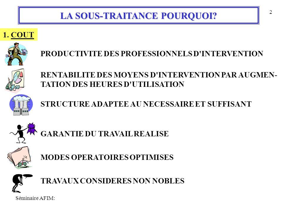 LA SOUS-TRAITANCE POURQUOI