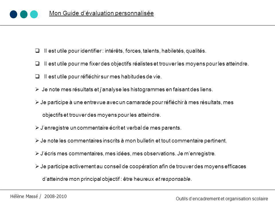 Mon Guide d'évaluation personnalisée
