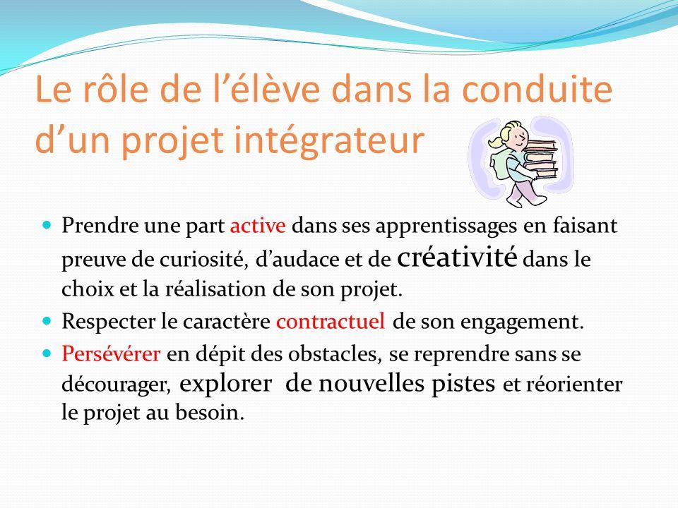 Le rôle de l'élève dans la conduite d'un projet intégrateur