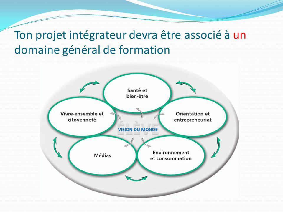 Ton projet intégrateur devra être associé à un domaine général de formation