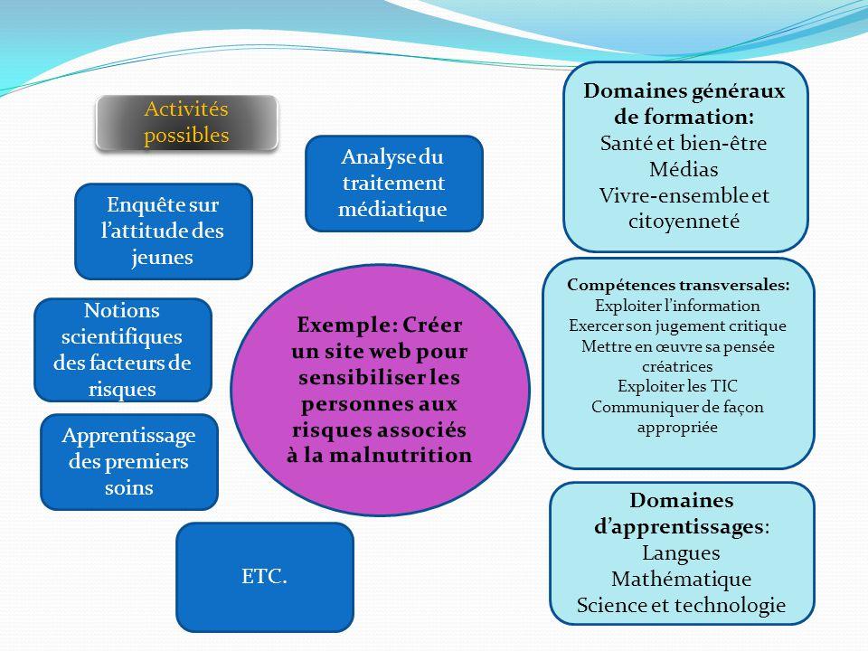 Domaines généraux de formation: Compétences transversales: